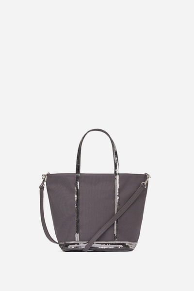 Small Canvas And Sequins Cabas Tote Bag With Detachable Strap