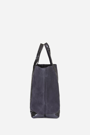 Medium Nubuck Leather and Sequins Cabas Tote Bag