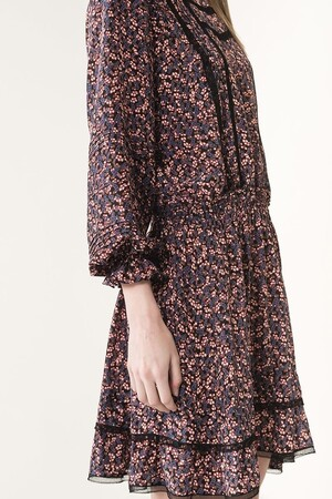 Silk blueberry printed Jane dress