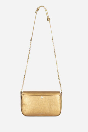 Metallic Leather Moon Flap Bag