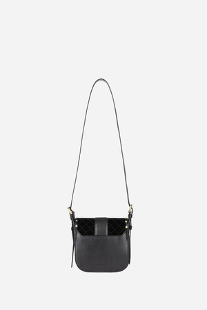 Small Velvet and Smooth Leather Gemma Flap Bag