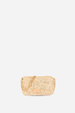 Raffia Moon Flap Bag