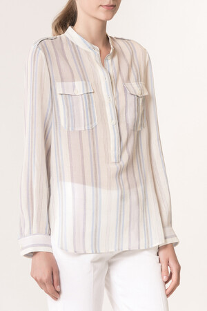 Striped crepon veil Lovina Shirt